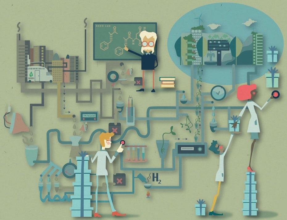 Flat-Design Illustration von Wissenschaftlern, die an einem komplexen Projekt zusammenarbeiten