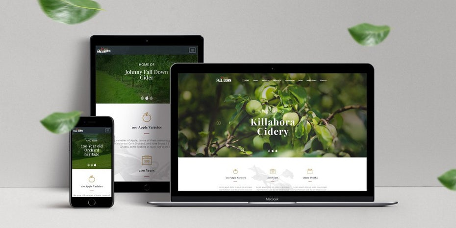 web design on laptop, phone and tablet with legible photo background of apple tree