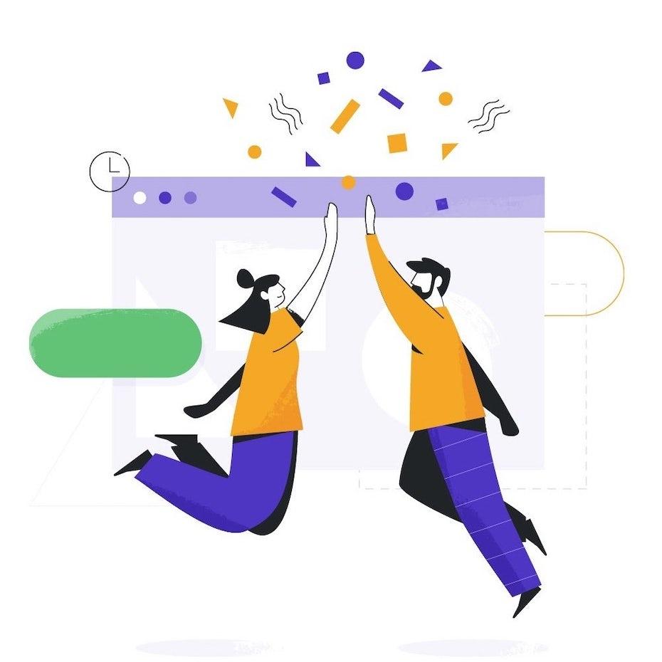 Eine Illustration mit abstrakten Figuren, die High-Five über einem Internetbrowser machen