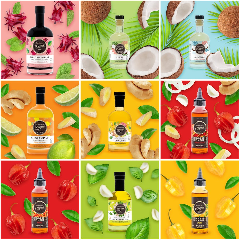 Instagram images showing different bottled products against bright backgrounds