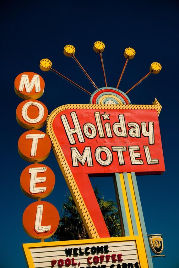 neon retro motel sign business logo
