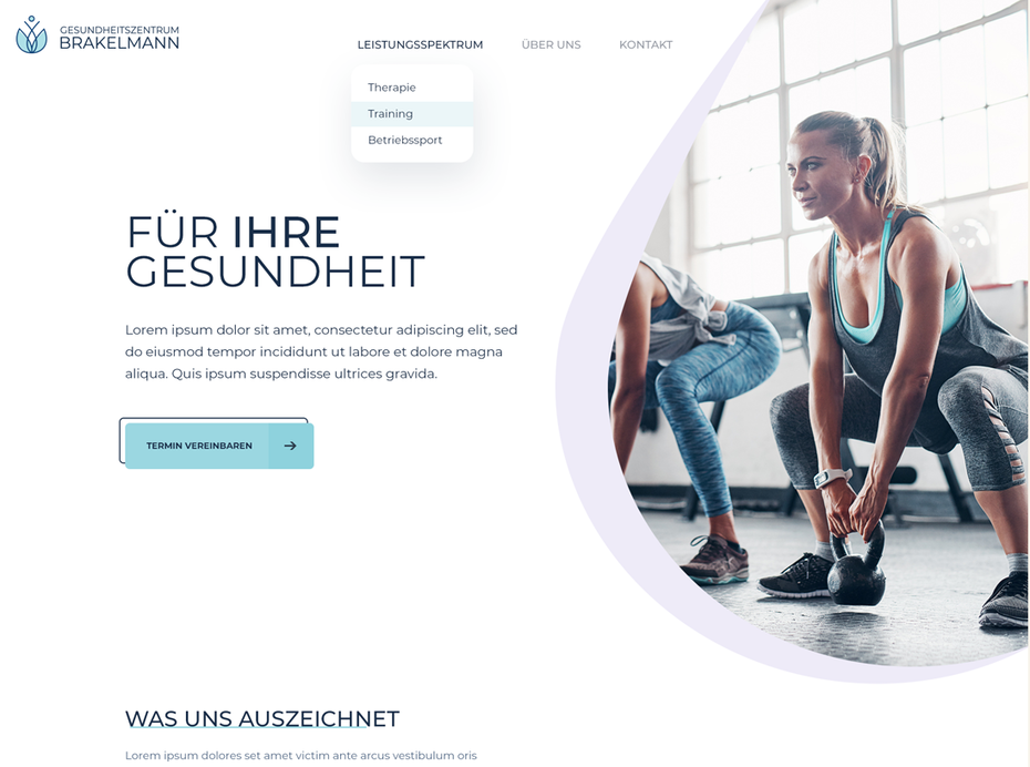 A custom WordPress theme design for a sports and health center
