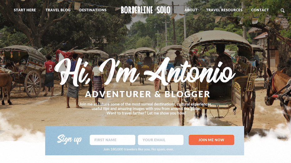 Travel blogger landing page