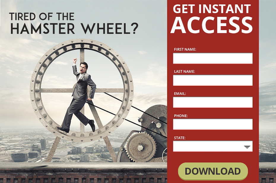 text-heavy landing page with an image of a man in a giant hamster wheel