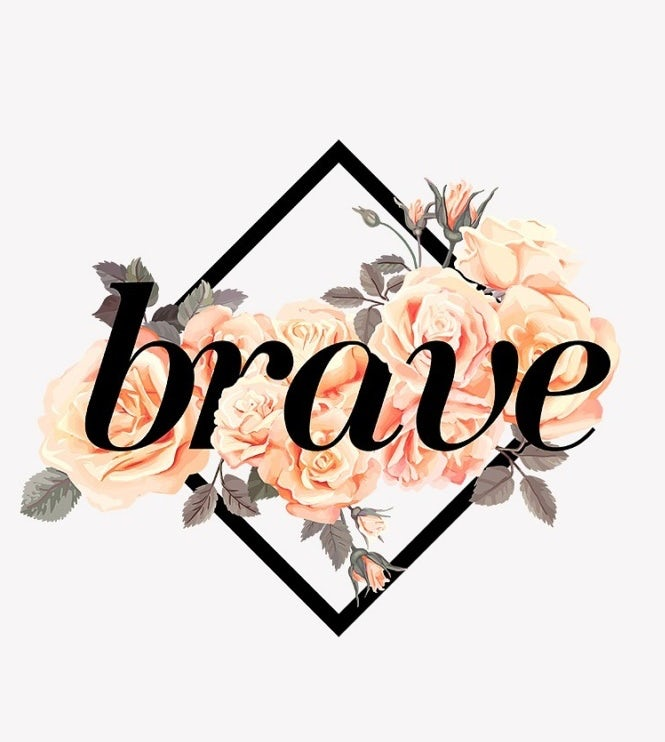 three diamond-shaped logos with empowering words and watercolor flowers
