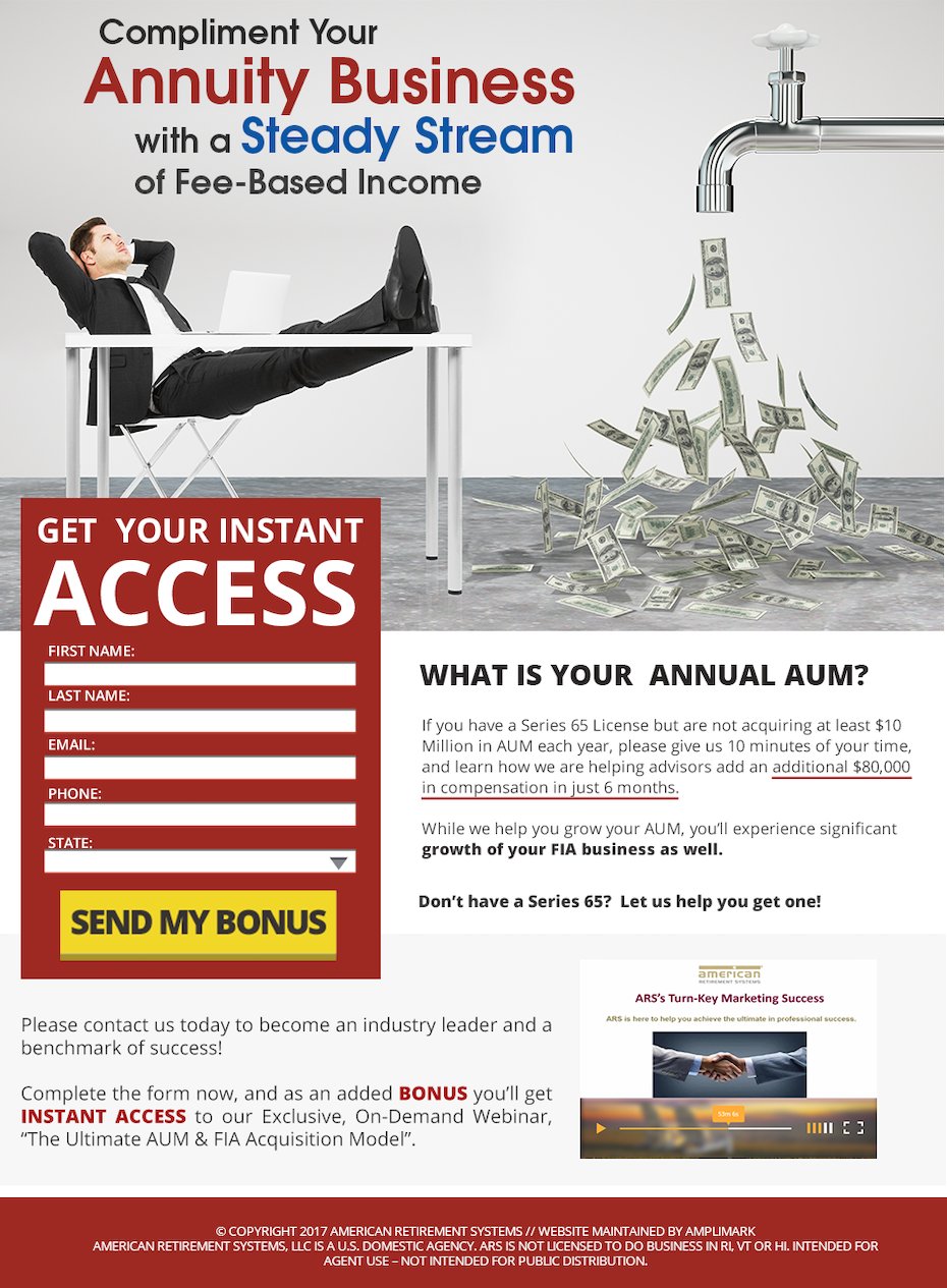 landing page showing a man reclining next to a faucet spraying money