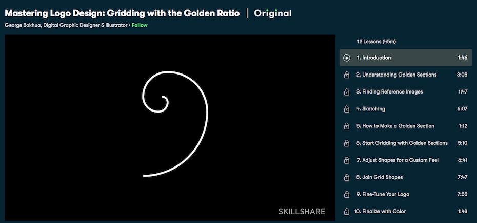 screenshot skillshare tutorial: logodesign und der goldene schnitt