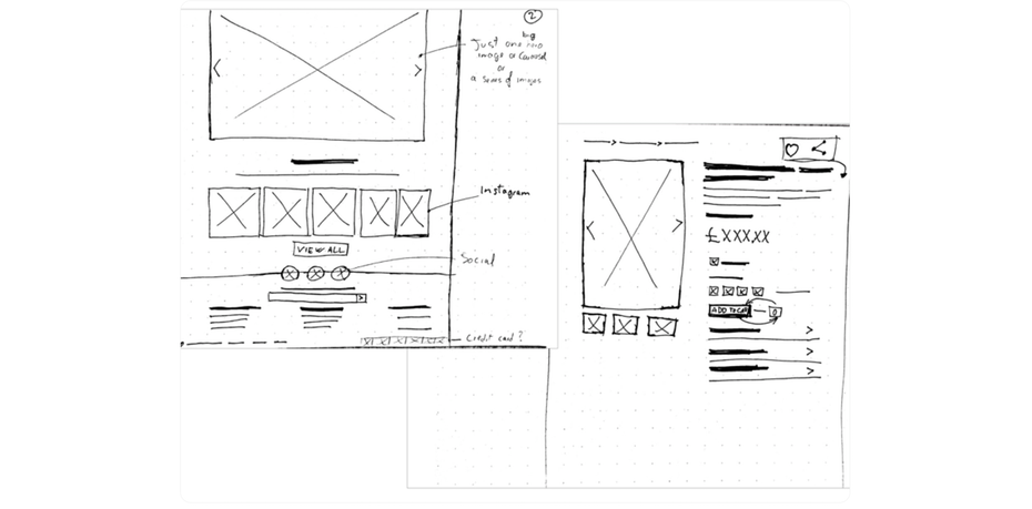 Wireframe app sketch
