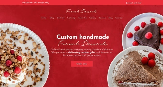 largely red website with images of cakes