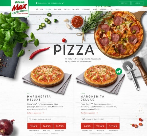 Pizza Max website