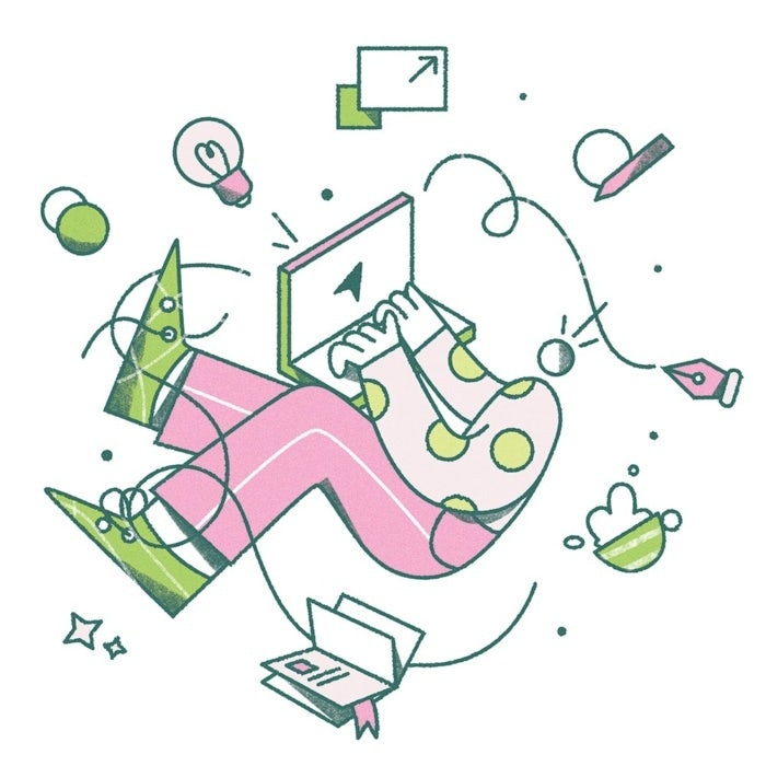 Illustration of person working on computer with items floating around