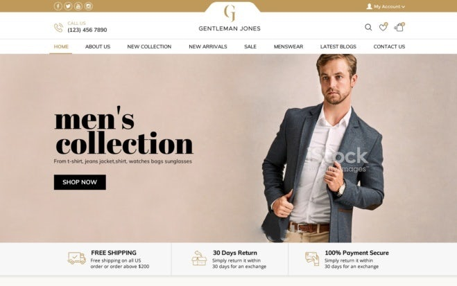 men's fashion website design