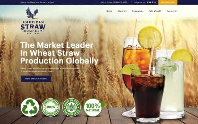 wheat straw website design with lots of photos showing straws and beverages