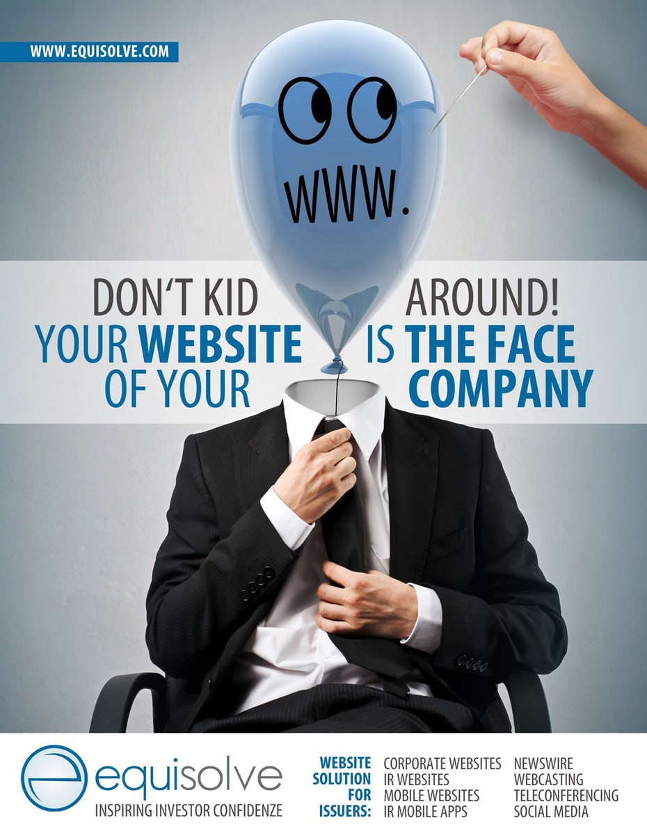 ad showing a sitting man in a suit with a blue balloon for a head as a hand attempts to pop him