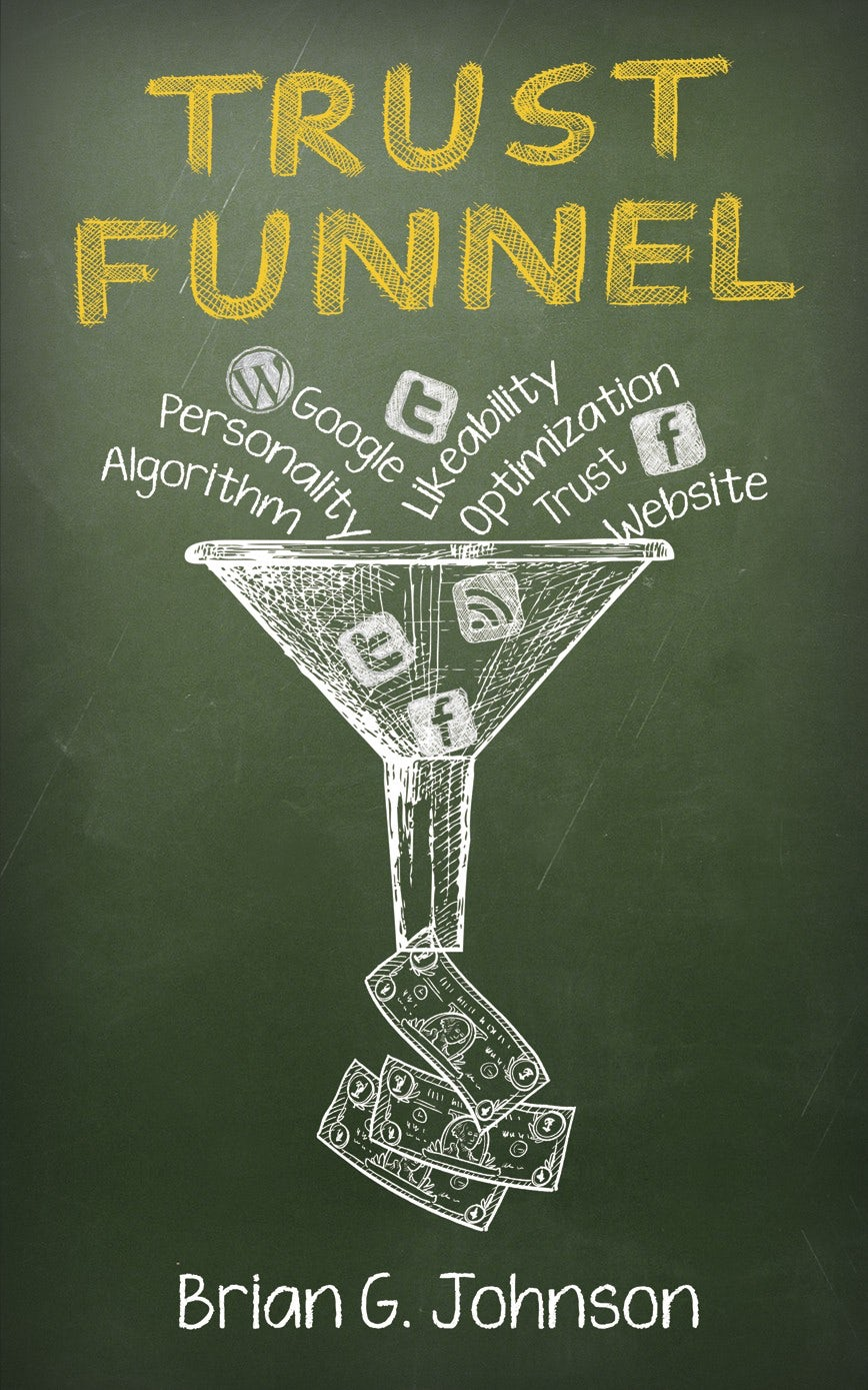 green book cover showing a white line drawing of a funnel with social media at the top and money at the bottom