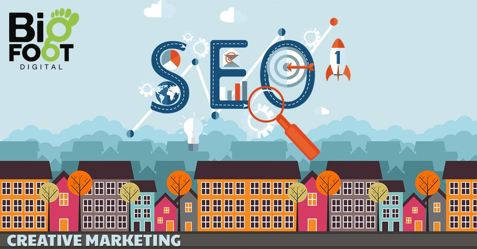 flat design banner showing SEO above buildings