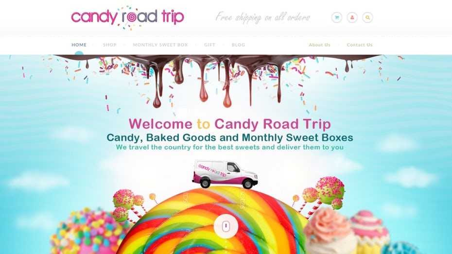 bunte Website von candy road trip