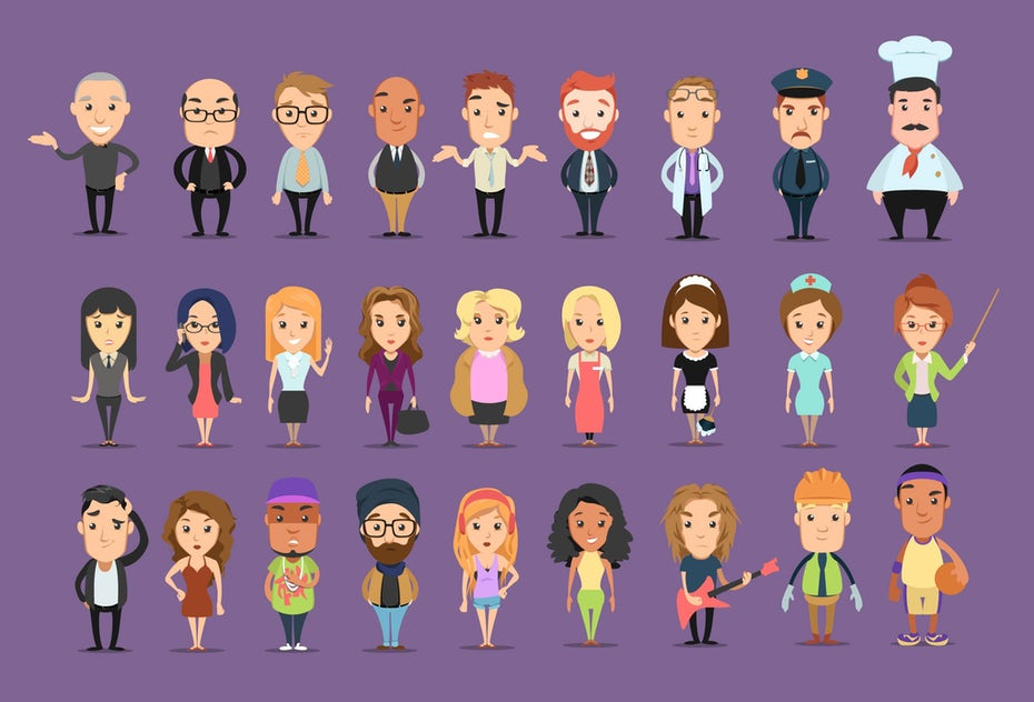 Flat design illustration of multiple business characters