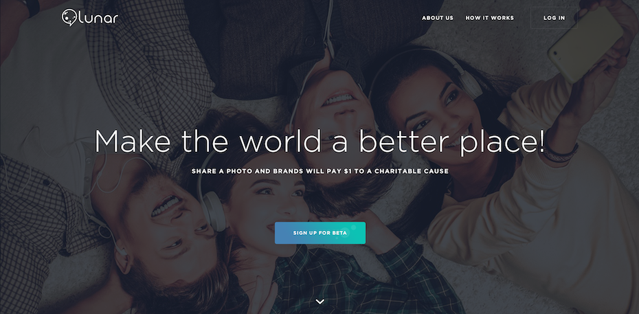 Design de landing page pour l'application d'une association caritative