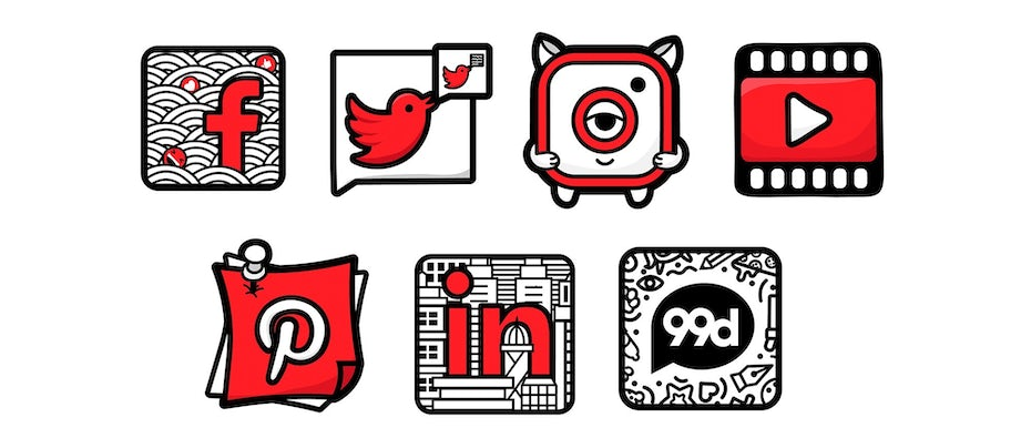 Illustration doodles of social media icons
