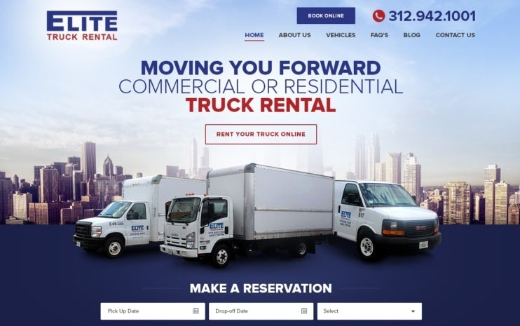 photo-heavy landing page showing available trucks and reviews