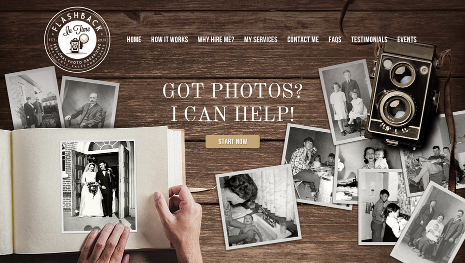 landing page with woodgrain background, white text and black and white photos
