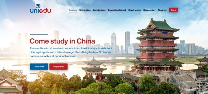 photo-heavy landing page showing images of students, Chinese buildings and universities