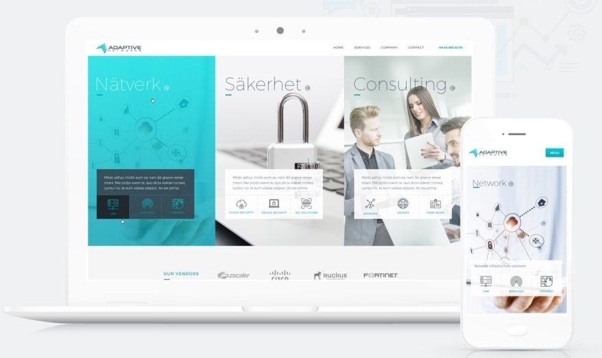 Custom WordPress theme design for an IT consulting company