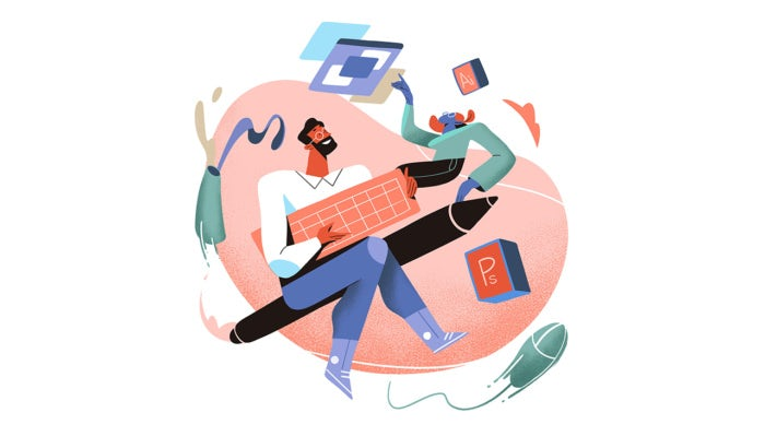 illustration of designer working with client