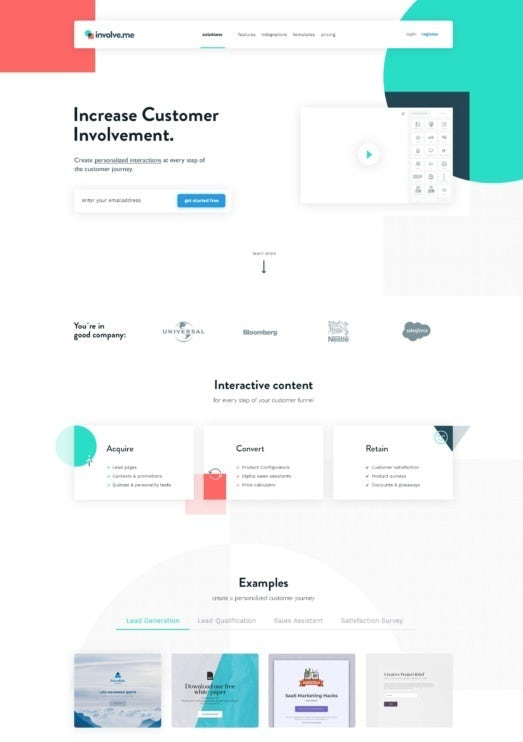 minimal text based landing page design