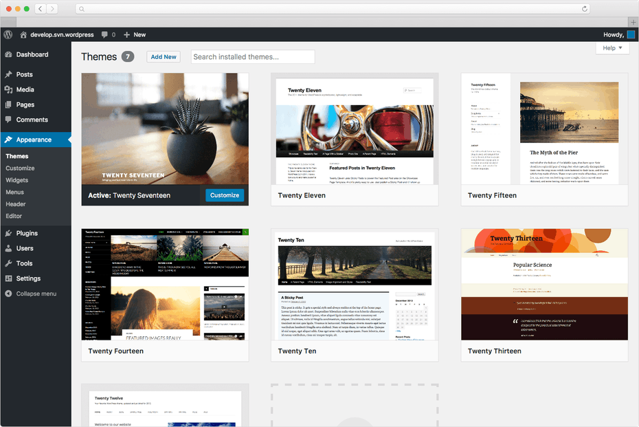 Screenshot of a sampling of available WordPress themes