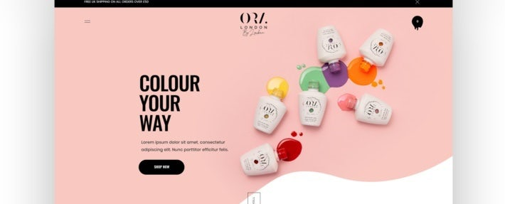 A pink website design for nail polish products
