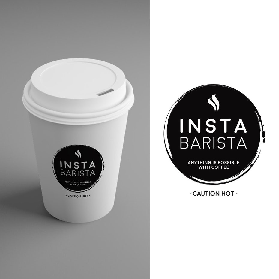 white paper to-go coffee cup with a black printed logo