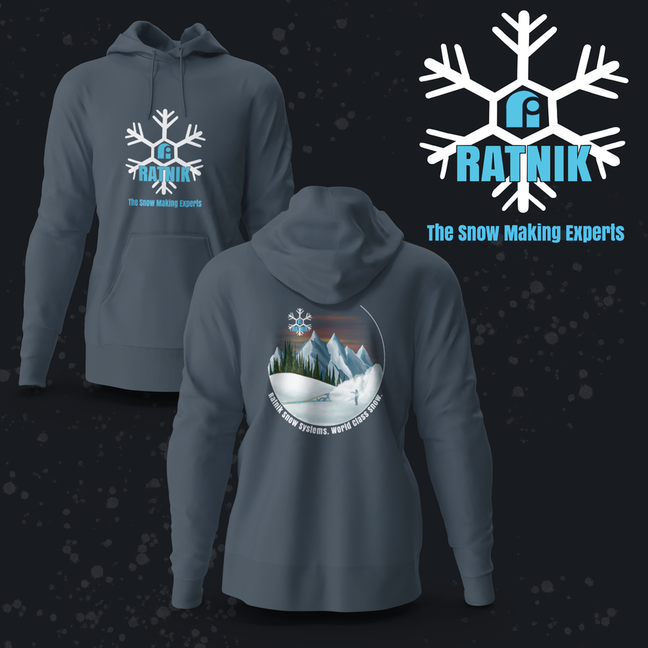 gray hoodie with a snowflake logo and image of a snowy scene