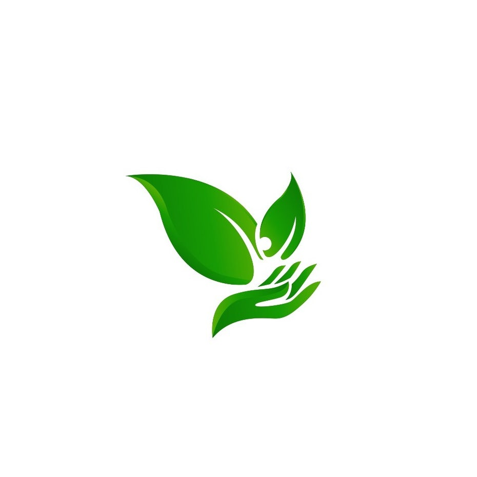 green leaves and a hand environmental logo