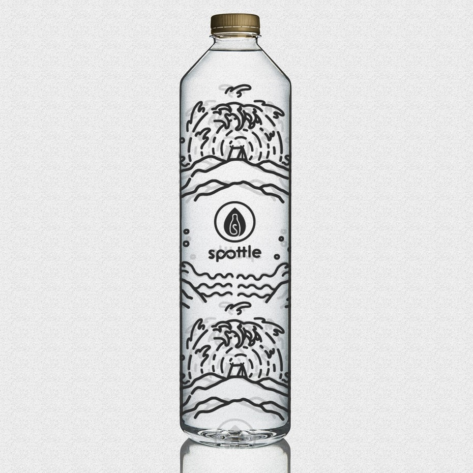 clear water bottle covered in all-over black geometric logos