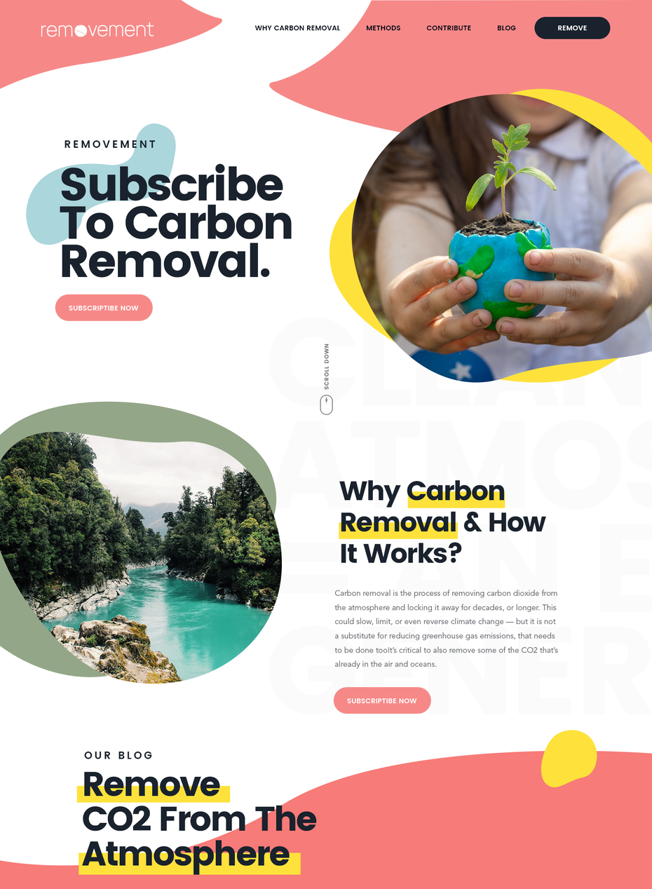 A colorful, photographic two column website layout design for an environmental brand