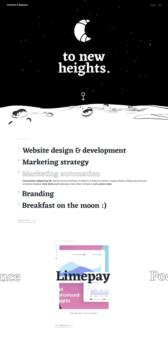 A black-and-white single column website layout for a digital marketing brand