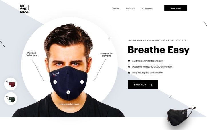 A black-and-white web design for a medical product