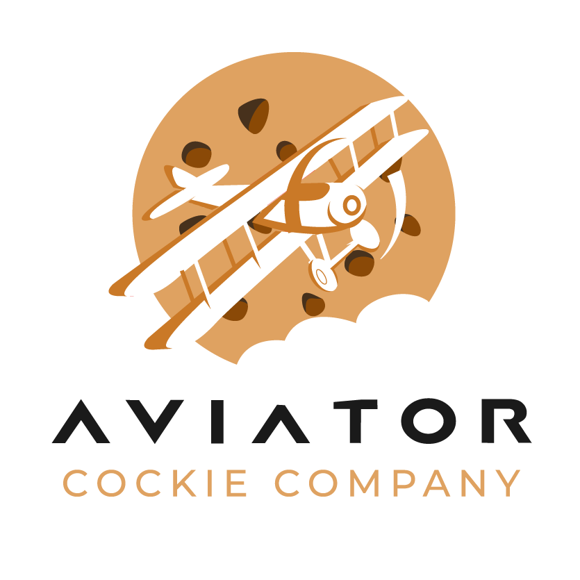 round logo showing a small airplane flying against a large cookie background