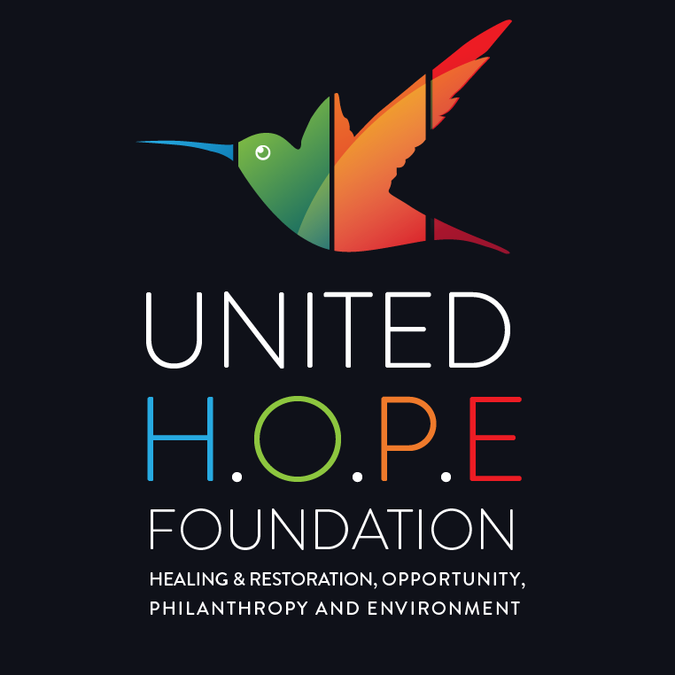 Foundation logo with hummingbird