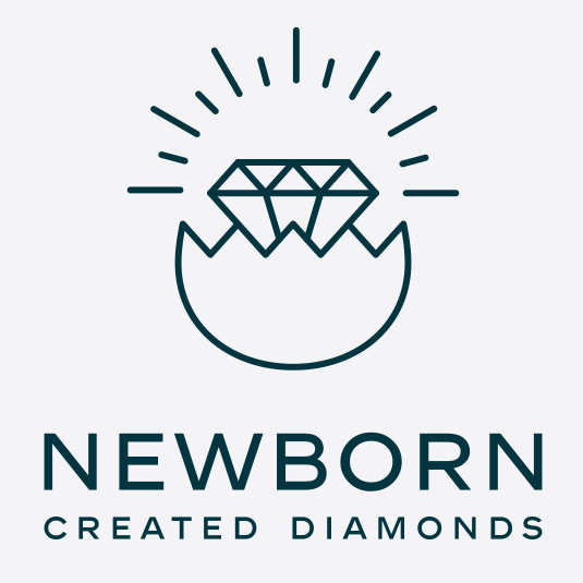 geometric logo showing a diamond hatching from an egg