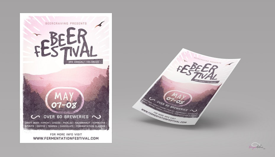 light pink beer festival flyer with an image of a landscape