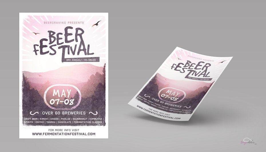 Hellrosa Bier Festival Flyer mit einem Bild einer Landschaft