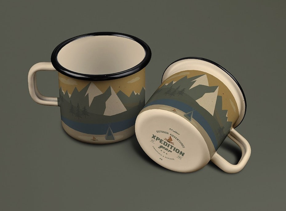 two mugs, side-by-side, both with a wilderness scene printed on them