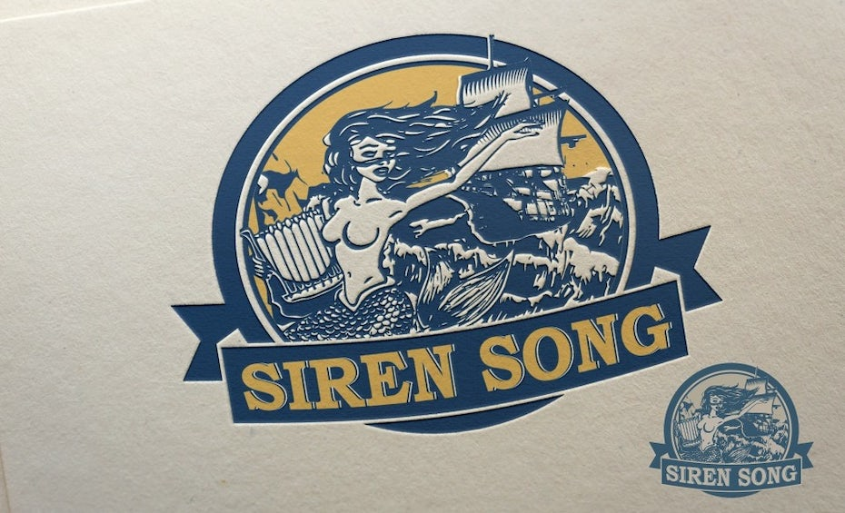 round blue and yellow logo of a siren