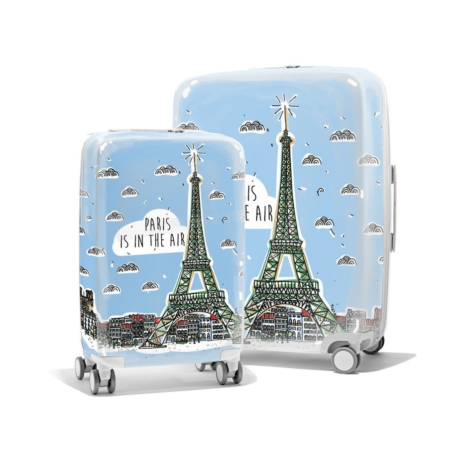 luggage pieces showing Paris design