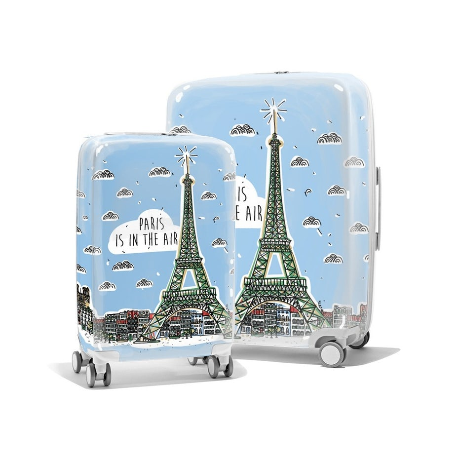 luggage pieces showing Paris design