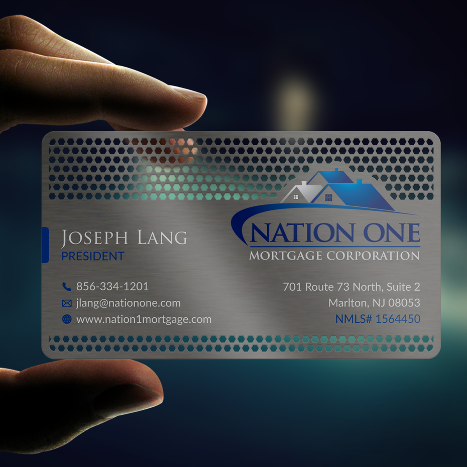metal business card with white and blue text