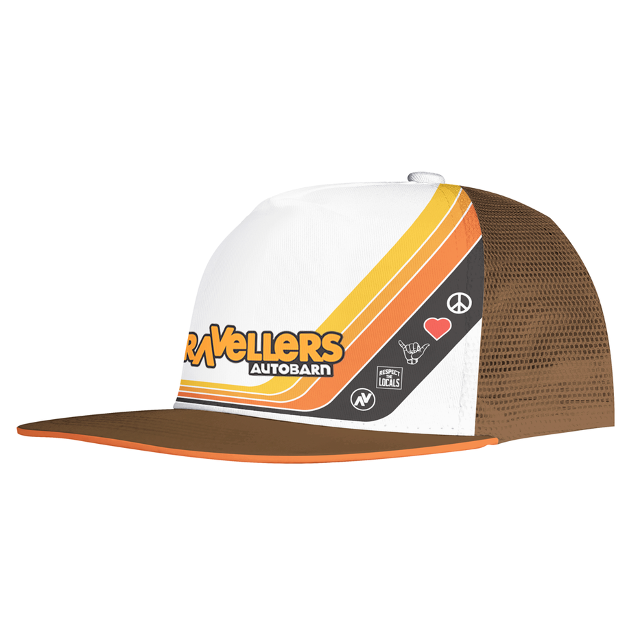 printed baseball cap with a brown, yellow and red design